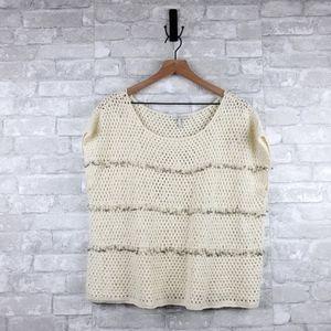Joie sleeveless knit fringe sweater | L